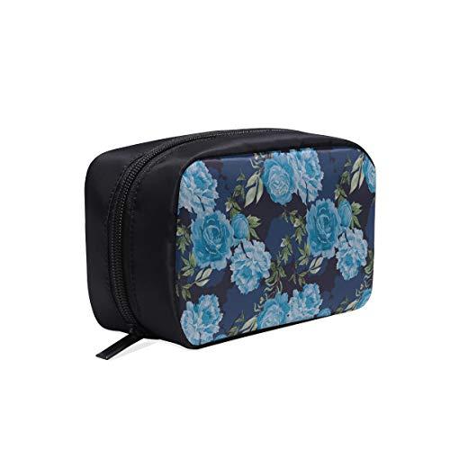 Outil Voyage Sac Bleu Rétro Romantique Fleur Pivoine Mode Sac Pack Pour Les Femmes De Mode En Plein Air Sac Toile Femme Sac Cosmétique Sacs Multifonction Cas Facile Maquillage Sac