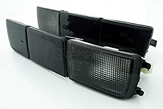 Black Smoke Euro Front Bumper Turn Signal Lights + Long Cover For VW Golf Jetta MK3 3