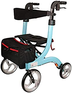 Mobility Aids Seniors Walker Lightweight Walking Frame Aid Mobility Foldable with Seat And Bag 4 Wheels for Elderly