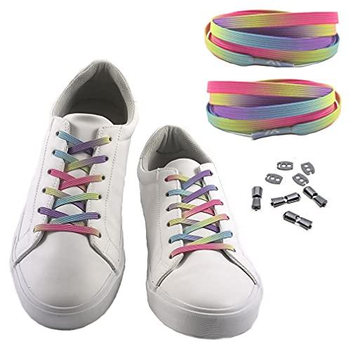 MAXX laces elastische Schnürsenkel flach für alle Schuhe - Schnellverschluss Schnürbänder ohne binden für Damen, Herren, Kinder - Sneaker, Sportschuh, Arbeitsschuh, Trekkingschuh (Pastel Rainbow)
