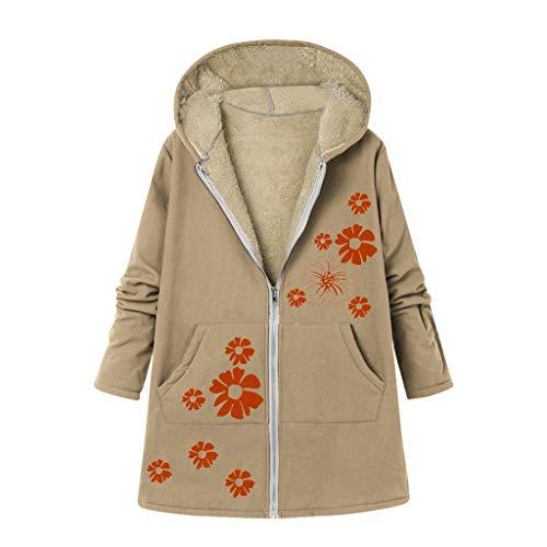 Reooly Abrigo con Capucha Moda Mujer Invierno Bolsillo Cremallera Manga Larga Felpa Abrigo de algodón
