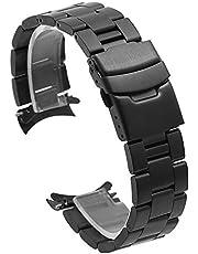 Solidna bransoletka do zegarka stożkowy zakrzywiony koniec ze stali nierdzewnej pasek do zegarka dla mężczyzn kobiet 20 mm 22 mm pasek zastępczy do zegarka z solidną klamrą rozmieszczenia czarny, srebrny