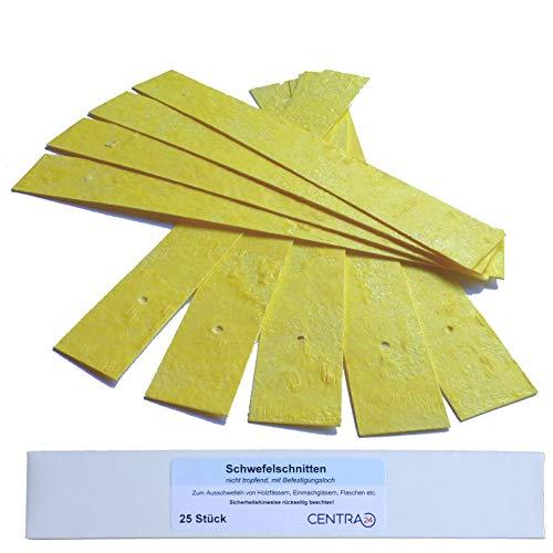 Centra24® Premium Schwefelschnitten, 25 Stück, nicht tropfend, Schwefelstangen zum Ausschwefeln von Holzfässern, Einmachgläsern, Flaschen etc. mit Befestigungsloch, Schwefelstreifen