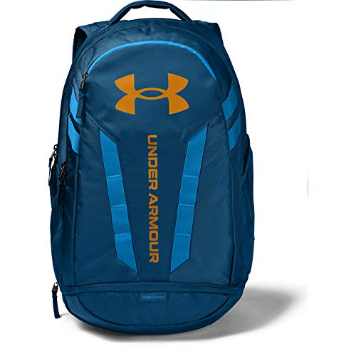 Under Armour Adult Hustle 5.0 Backpack , Graphite Blue (581)/Golden Yellow , One Size Fits All