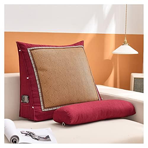 ZSFBIAO Cojines Cama Cabecera Gran Almohada Lectura Lumbar Triangular Almohadas De Lectura para Ver Televisión Y Leer (Size:60 * 50 * 20cm,Color:Rojo Oscuro)