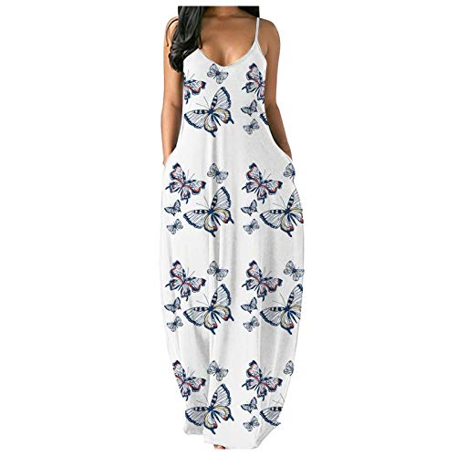 BIBOKAOKE Vestido de verano para mujer, elegante, maxivestido, vestido largo para fiestas, tallas grandes, vestido de playa, informal, holgado, sin hombros, vestido de fiesta