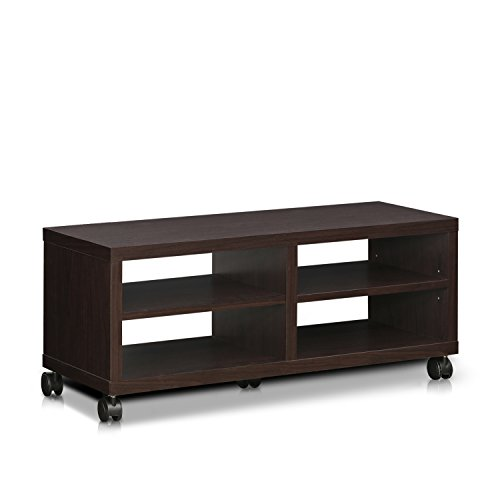 Furinno Indo 2-Tier Low Rise TV Entertainment Stand with Casters, Espresso