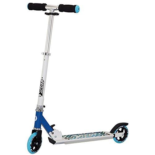 Best Sporting Big Wheel 125 Scooter 72,5 - 83 cm zweifach höhenverstellbarer Kinder-Roller in weiß/blau