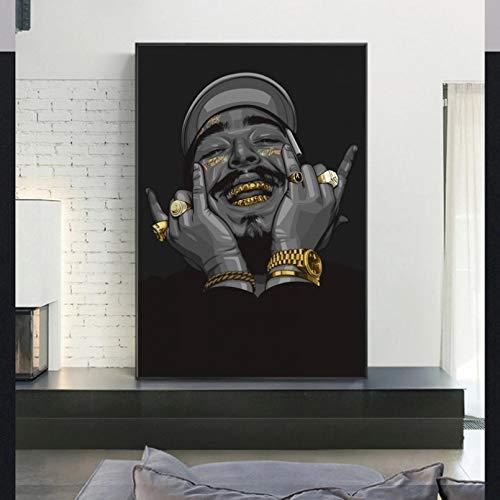 N/A Leinwandmalerei Dekorative Malerei Hip Hop Rapper Malone Kunst Malerei Poster und Drucke Musik Sänger Star Portrait Leinwand Wandbilder für Home Living Room Decor Hauptdekoration Geschenk