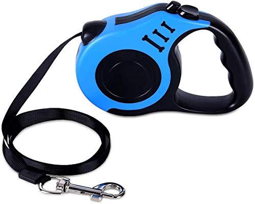 JHJLIB Hundeleine Rollleine, Teleskop-Hundeleine mit Anti-Rutsch-Griff mit Zwei Tasten,Geeignet für Small/Medium Hund oder Katze Wanderleinen, Blau Roll-Leine 5m
