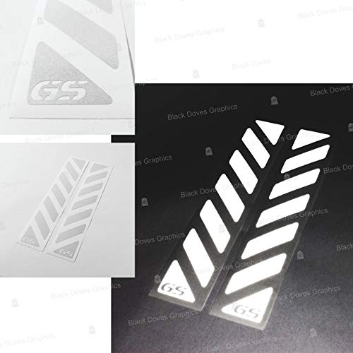 2pcs Reflective Stripes with GS for Touratech Motorcycle Aluminium Panniers F650 F700 F800 R1150 R1200 GS Motorrad Stickers Pegatina (White)
