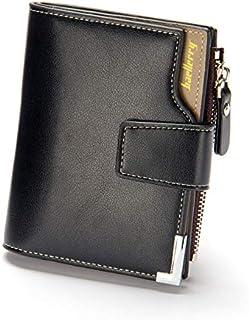 محفظة جلدية ثلاثية الطيات للرجال لحمل كروت الائتمان، محفظة للرجال بسوستة (أسود)-QB40-2