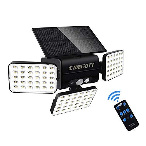 Solarlampen für Außen mit Bewegungsmelder, 90 LED Solarleuchten Außen, IP65 Wasserdicht Solar Sicherheitsleuchte mit Bewegungsmelder für Veranda Garten Patio Yard Garage Pathway