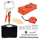 Pocket Hole Jig Kit, Including Double Holes Pocket Hole Jig, 9 Inch Clamp, Tape Measure, 150 Pieces Coarse Square Driver Screws