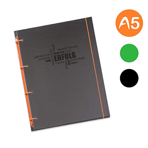 flexiNotes NOTIZBUCH A5, Typ: Business, Orange, 75 Blatt kariert - Ring S