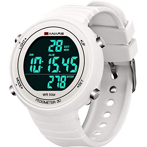 Smniao Kinderuhren Jungen Herren Sport Digital Uhren, 50 m Wasserdicht Elektronische Armbanduhr mit Wecker/Schrittzähler/LED-Licht (Weiß)
