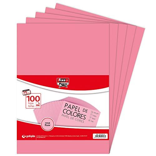 Fixo Paper 65009254 - Confezione da 100 fogli da 75 g, Carta, Rosa Fluo, A4