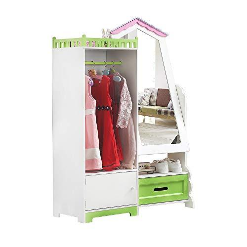 Kids Wardrobe Children Storage Cabinet with Mirror & Drawer | Child Wooden...