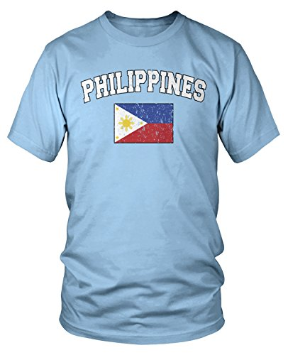 Amdesco Men's Philippines Flag, Filipinas Philippine Flag T-Shirt, Light Blue Medium
