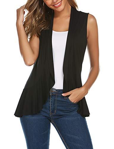 Zeagoo Women's Lightweight Sleeveless Solid Open Front Drape Vest Cardigan S-XXL Plus Size Black M