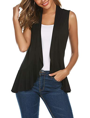 Zeagoo Women's Extra Soft Solid Sleeveless Vest Cardigan Sweater Open Front Drape Vest Black XL
