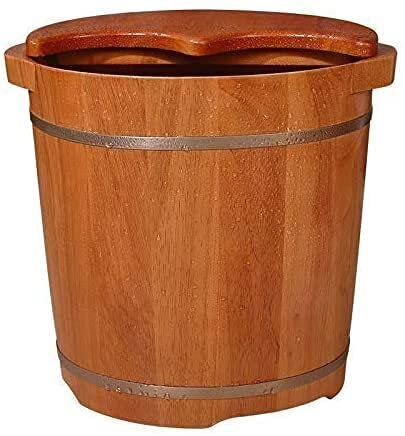 Barril de baño de pies de alivio del espasmo, adulto Elevada el calcomanía de remojo del pie de madera, aislamiento de larga duración para aliviar la fatiga, engrosada con barril de baño de pies