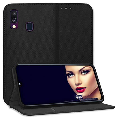 mtb more energy® Schutz-Tasche Bookstyle für Samsung Galaxy A40 (SM-A405, 5.9'') - schwarz - Kunstleder - Klapp-Cover Hülle Wallet Hülle