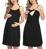 HOTLOOX Stillkleid Geburtshemd Nachthemd Stillen Damen Ärmellos Umstandsnachthemd Nachtwäsche Knielang Unterkleid Schlafshirt Schwarz Small