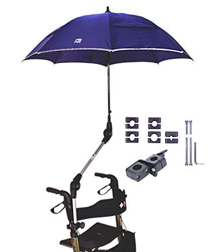 """MPB® Rollatorschirm 99 BR (PASSEND FÜR 99{56b3bbf7766570481ce70aa3e5ea1081ceea7101e54ffdae4e3dbcf05734ed43} ALLER ROLLATOREN!), Regenschirm und Sonnenschirm, blau-reflektierend, mit 2 Verstellgelenken, Mikrofaser-Schirm mit\""""Air-Vent System\"""", inkl. Schirmhülle"""