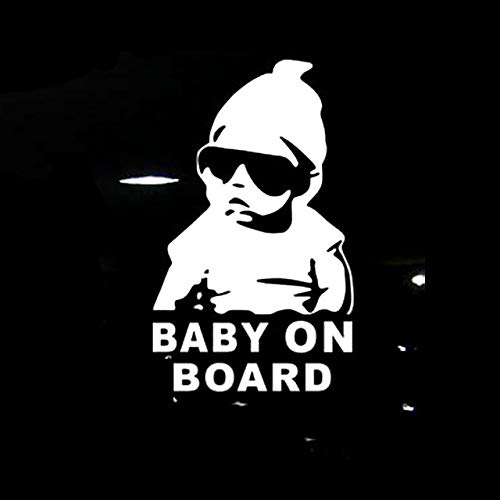 Car glass car sticker 14 * 9CM BABY ON BOARD Cool Rear Reflective Sunglasses Child Car Stickers Warning Decals Black/Silver (Color Name : Silver)