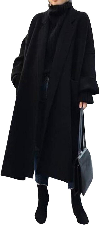 MOUTEN Women Long Lapel Winter Wool Wlend Loose Trench Peacoat Overcoat