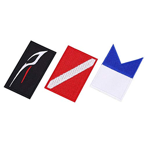 Keenso Parche de Buceo, 3 Piezas Parche de Bandera de Buceo Parches de Velcro de Buceo Insignia de Buzo Bordado Accesorios de Bricolaje para Sombrero de Mochila