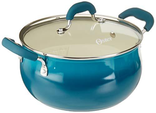 Oster Corbett Horno holandés de aluminio forjado con cerámica antiadherente – base de inducción – mango de baquelita suave al tacto, 5,4 qt, verde azulado degradad