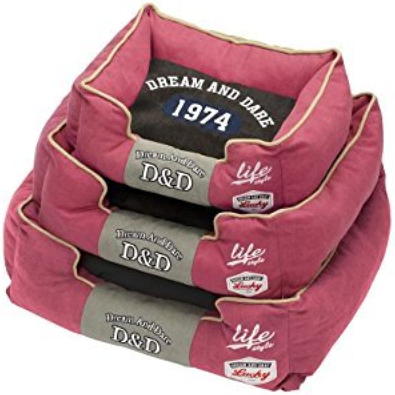 D&D Life 74 671422571 Dog Bed 55 x 55 x 23cm Red Black