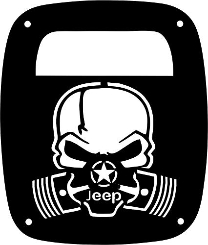 JeepTails Skull Piston Mask Tail lamp Light Covers Compatible with Jeep Wrangler TJ and YJ - Black - Set of 2