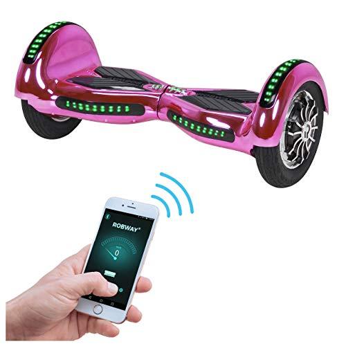 Robway W3 Hoverboard - Das Original - Samsung Marken Akku - Self Balance - 22 Farben - Bluetooth - 2 x 400 Watt Motor - 10 Zoll Luftreifen (Pink Chrom)
