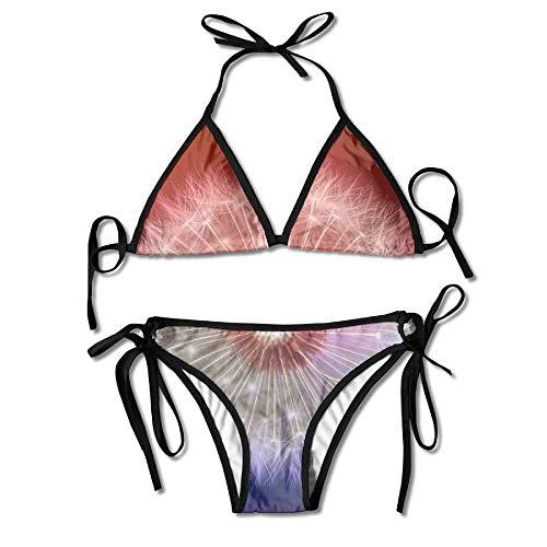 Dandelion Flower Macro Bokeh Bloom Women's Sexy Bikini Set Swimsuit Bathing Suit Triangle Swimwear