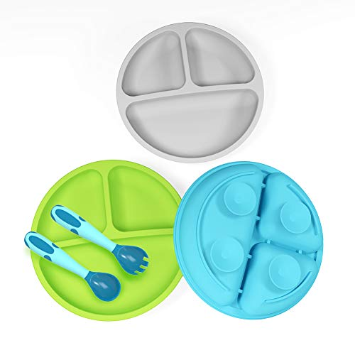 3 Pack Safe Silicone Baby Suction Plates - Toddler Divided Plate Set with Spoon Fork, Dishwasher and Microwave Safe (Blue, Green & Gray)