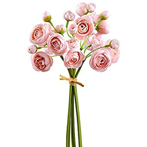 SilksAreForever 10″ Silk Mini Ranunculus Flower Stem Bundle -Pink (Pack of 12)
