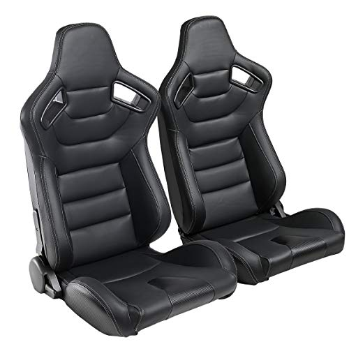 2PCS Universal PVC Leather Racing Seats, Reclinable Bucket Seat Come with Two Adjustable Slider, Mounting Brackets are NOT Include (Black & White Stitching)