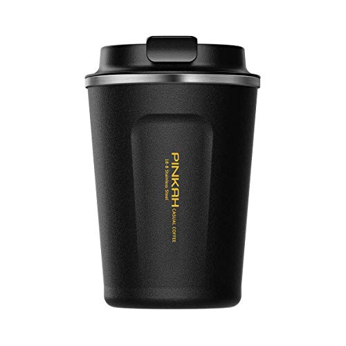 Koffie te Gaan Bekers/Tumbler/Travel Mok, Dubbele Muur RVS Vacuüm Geïsoleerde Koffie Mok reizen naar koffie mok lekvrij gaan 380ml/13oz Zwart