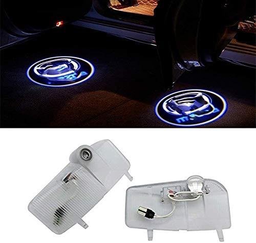 2 piezas de la puerta de coche insignia de la sombra emblemas luces, anticolisión Wireless Sensor Bienvenido sombra del fantasma de la proyección de instalación de luz for Mazda Car Styling Decoración