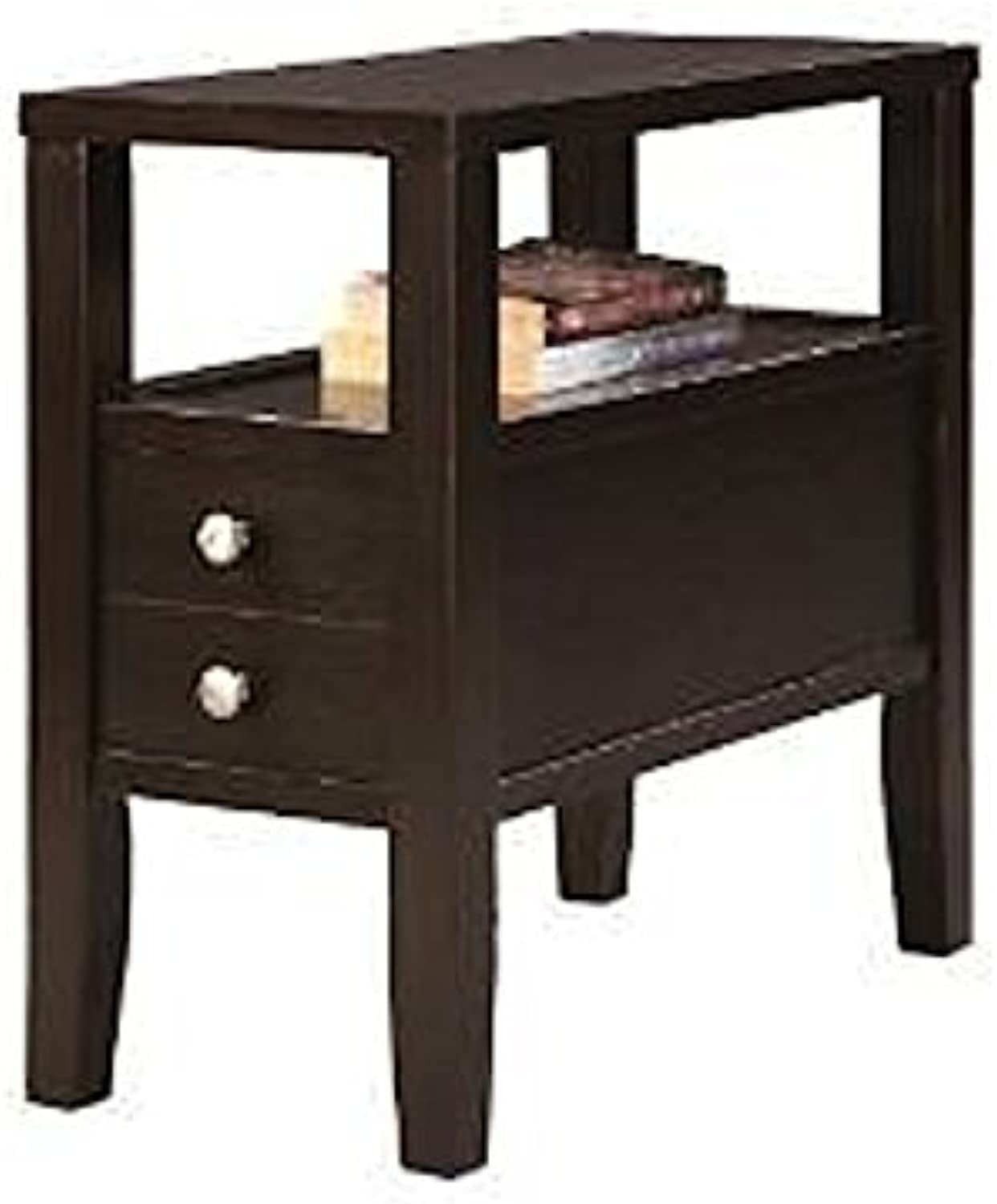ORE International 7708 Traditional Side End Table with 2 Drawers, 24-Inch, Dark Espresso