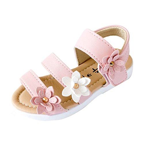 Transer pour 1.5-6 Ans Fille, Enfants Filles Mode Grande Fleur Plat été Princesse Sandales (26, Rose)