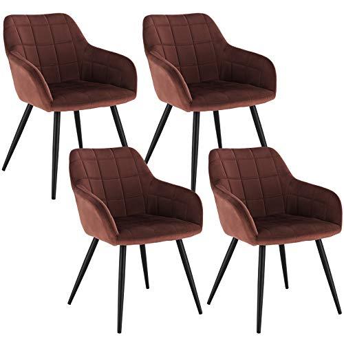 WOLTU 4 x Esszimmerstühle 4er Set Esszimmerstuhl Küchenstuhl Polsterstuhl Design Stuhl mit Armlehne, mit Sitzfläche aus Samt, Gestell aus Metall, Braun, BH93br-4