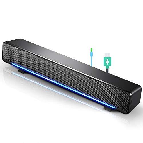 Mini soundbar Portatile, Altoparlante soundbar USB cablato Lettore Musicale Bass Surround con spinotto Audio da 3,5 mm per Telefono Cellulare/Tablet/proiettore/Home Theater / MP3 / MP4.(Nero)