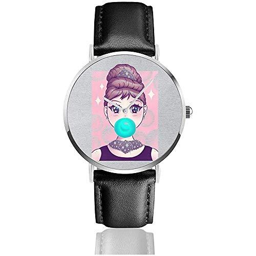 Unisex Kawaii Kaugummi Uhren Quarz Lederuhr mit schwarzem Lederband