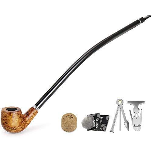 Gambo lungo tabacco pipa - churchwarden di legno tabacco pipa per fumatori con 3 in 1 Reamers Tamper, Pipe alesatore & Altri accessori per tubi in confezione regalo