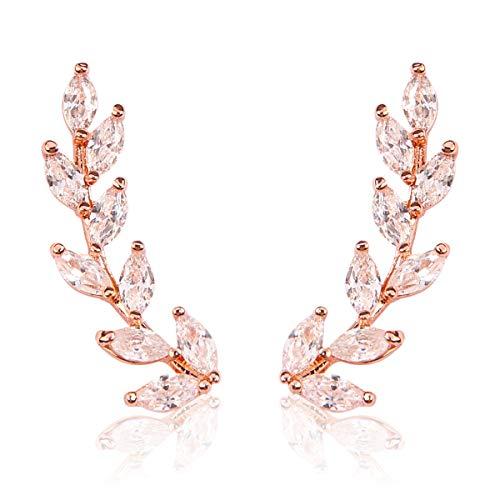 RIAH FASHION Sparkly Rhinestone Floral Leaf Ear Crawler Earrings - Delicate Cubic Crystal Petal Vine Branch Feather Earlobe Climber Cuff (Leaf - Rose Gold)