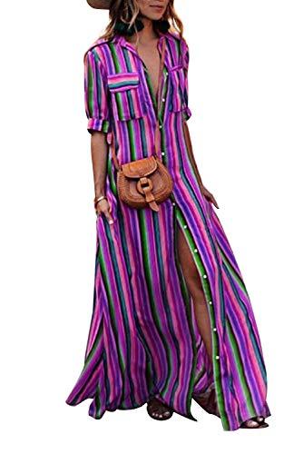 Vestiti a Righe Donna Vintage 3/4 Manica Camicie Kaftan Elegante Abito Scollo a V con Tasche Spacco...